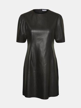 Čierne koženkové šaty Noisy May Hill