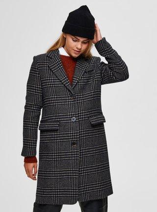Čierny kockovaný vlnený kabát Selected Femme Elina