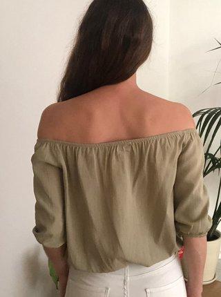 Kaki blúzka s odhalenými ramenami Trendyol