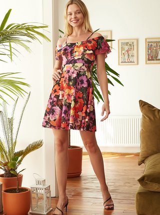 Čereveno-fialové květované šaty s odhalenými rameny Trendyol