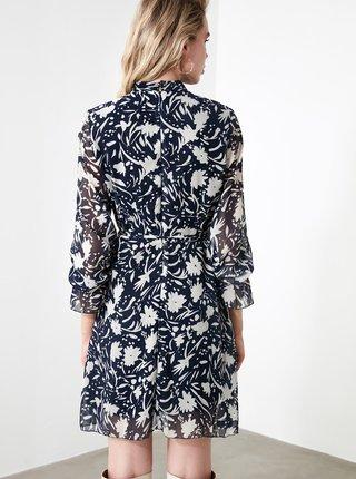 Modré kvetované šaty Trendyol