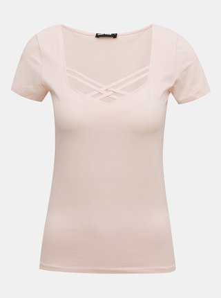 Růžové tričko s pásky v dekoltu TALLY WEiJL