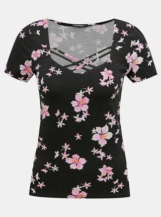 Čierne kvetované tričko s pásmi na dekolte TALLY WEiJL