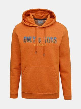 Oranžová mikina s kapucí ONLY & SONS Mava