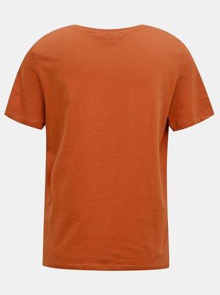 Hnědé tričko s potiskem VERO MODA Polera