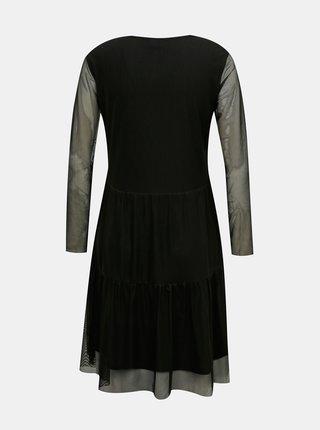 Černé šaty s průsvitnými rukávy Jacqueline de Yong Dixie