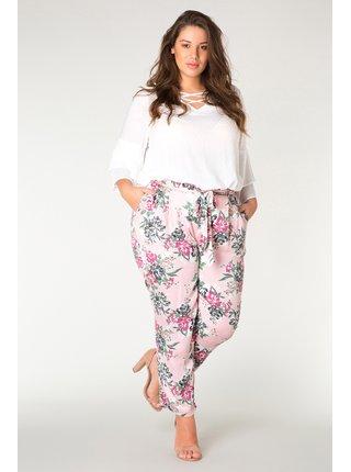 Yesta ružové nohavice Goessel s kvetinovými motívmi