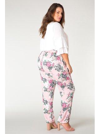 Yesta růžové kalhoty Goessel s květinovými motivy