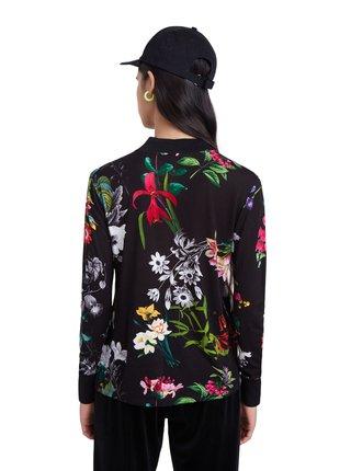 Desigual čierne tričko TS Indiana s farebnými kvetmi