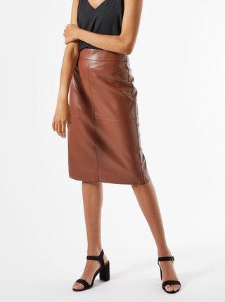 Hnědá pouzdrová koženková sukně Dorothy Perkins Petite