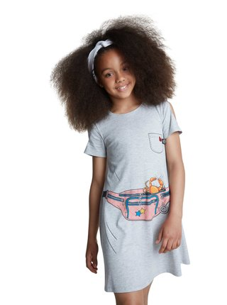 Desigual sivé dievčenské šaty Vest Emma