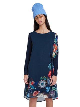 Desigual modré šaty s barevnými motivy