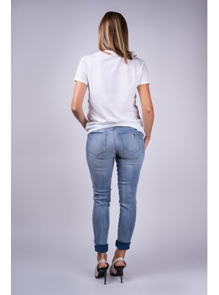 Guess biele tričko Frontale Glitter s potlačou