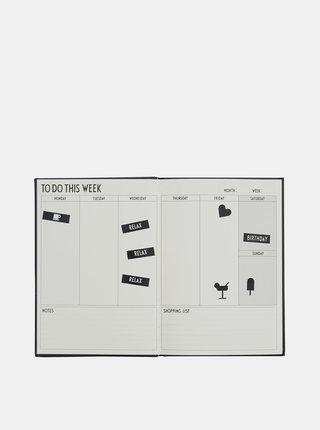 Čierny týždenný plánovací diár Design Letters