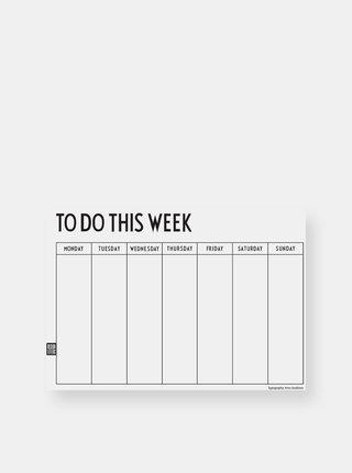 Biely týždenný plánovací kalendár Design Letters