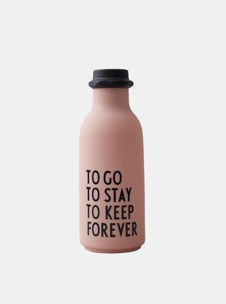 Růžová láhev na pití Design Letters 500 ml