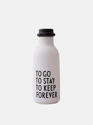 Biela fľaša na pitie Design Letters 500 ml