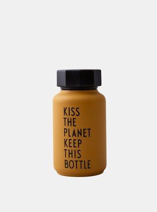 Oranžová termo fľaša Design Letters 330 ml