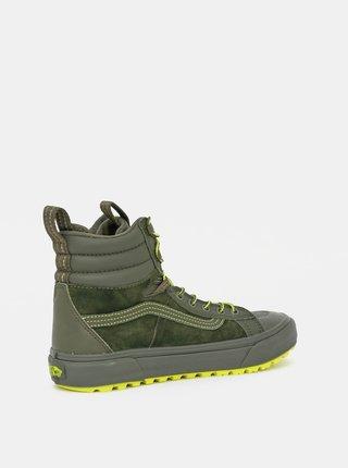 Zelené kožené kotníkové tenisky VANS Sk8-Hi