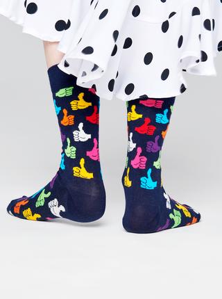 Tmavomodré vzorované ponožky Happy Socks Thumbs Up