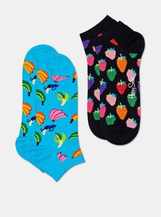 Sada dvou párů kotníkových ponožek v modré a černé barvě Happy Socks Banana