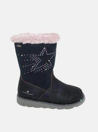 Tmavomodré dievčenské zimné topánky Tom Tailor
