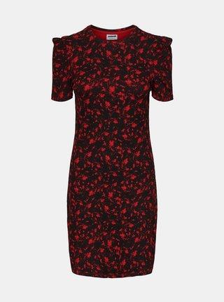 Červeno-černé vzorované pouzdrové šaty Noisy May Lea