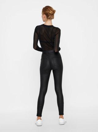 Čierne skinny fit nohavice s povrchovou úpravou Noisy May Ella
