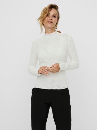 Bílé žebrované tričko Noisy May Berry