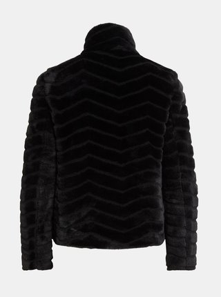 Čierna bunda z umelého kožúšku VILA Aliba