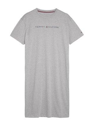 Tommy Hilfiger sivé domáce šaty Grey Heather s logom