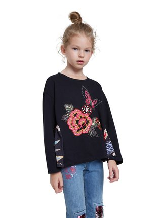 Desigual čierne dievčenské tričko TS Norwich
