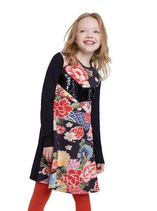 Desigual černé dívčí šaty Vest Minatitlán s barevnými motivy