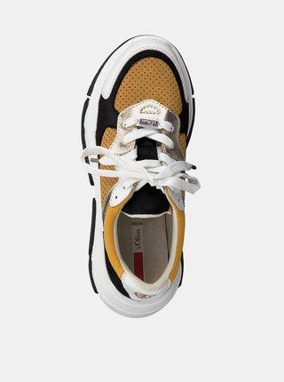 Bielo-hnedé dámske tenisky s detailmi v semišovej úprave s.Oliver