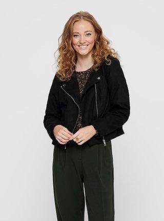 Čierna bunda v semišovej úprave Jacqueline de Yong New Peach