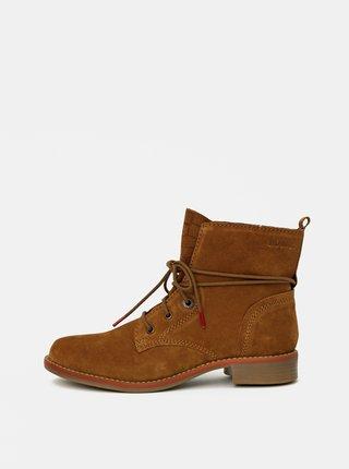 Hnedé dámske semišové členkové topánky s.Oliver