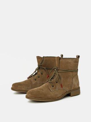 Béžové dámske semišové členkové topánky s.Oliver