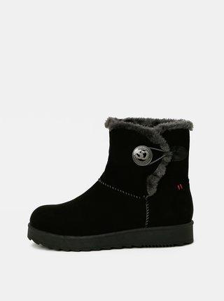 Čierne dámske zimné topánky v semišovej úprave s.Oliver