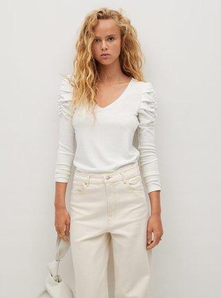 Bílé tričko s nařasenými rukávy Mango