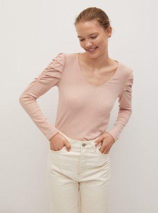 Světle růžové tričko s nařasenými rukávy Mango
