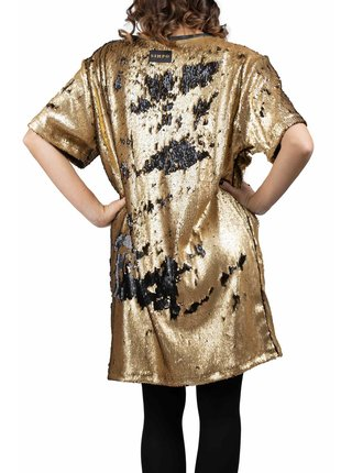 Simpo čierno-zlaté flitrované šaty Flash