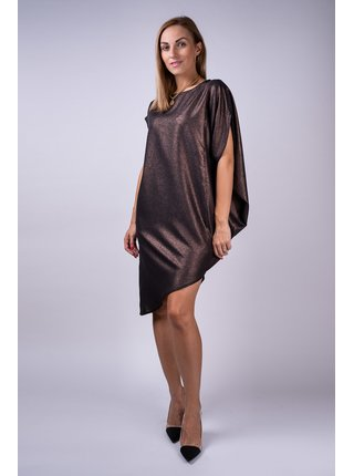 Simpo čierne metalické asymetrické šaty Storm bez opasku