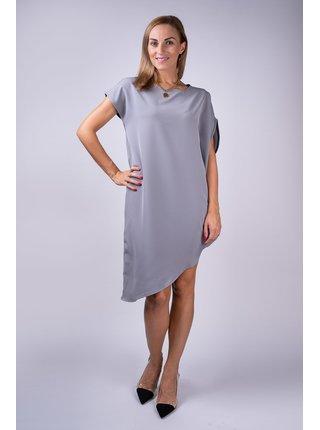 Simpo šedé asymetrické šaty Storm bez pásku
