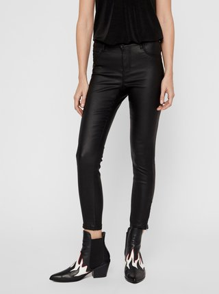 Čierne koženkové skinny fit nohavice Noisy May Kimmy