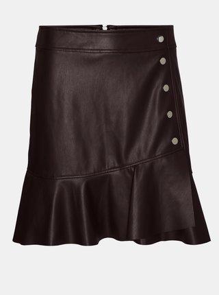 Tmavě hnědá koženková sukně VERO MODA Liv