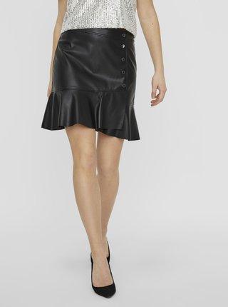 Černá koženková sukně VERO MODA Liv
