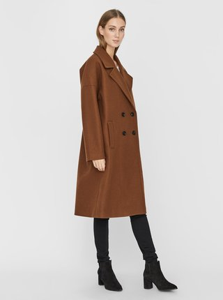Hnedý dlhý kabát VERO MODA Lola