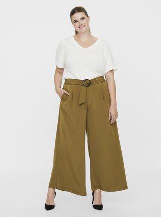 Khaki široké kalhoty s páskem VERO MODA CURVE