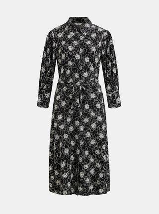 Čierne kvetované košeľové midišaty .OBJECT Viri