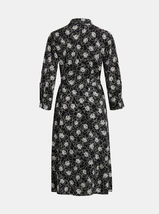 Černé květované košilové midišaty .OBJECT Viri